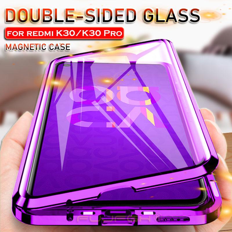 Funda magnética de cristal de doble cara para Xiaomi Redmi K20 K30 Pro Mi 9T Pro 360 funda completa con adsorción magnética Marco de Metal funda abatible