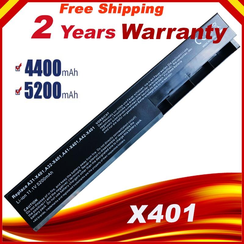 Precio especial A32-X401 batería del ordenador portátil para ASUS X301 X301A X401 X401A X501A A31-X401 A41-X401 A42-X401 envío rápido