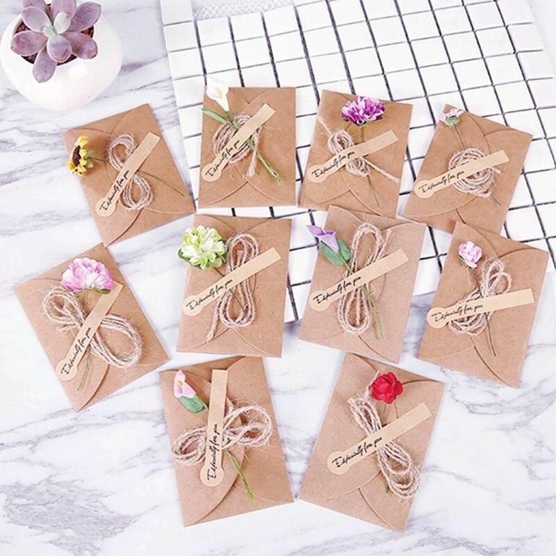 Пустые открытки с конвертами, сделай сам, ретро, крафт-бумага, ручная работа, маленькие сушеные цветы, поздравительные открытки, 10 штук, подх...