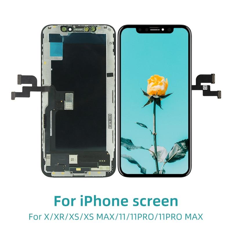 AAA +++ ЖК-дисплей для iPhone X XR XS Max OLED с 3D сенсорным дигитайзером Дисплей для iphone 11 ЖК-экран дигитайзер замена в сборе