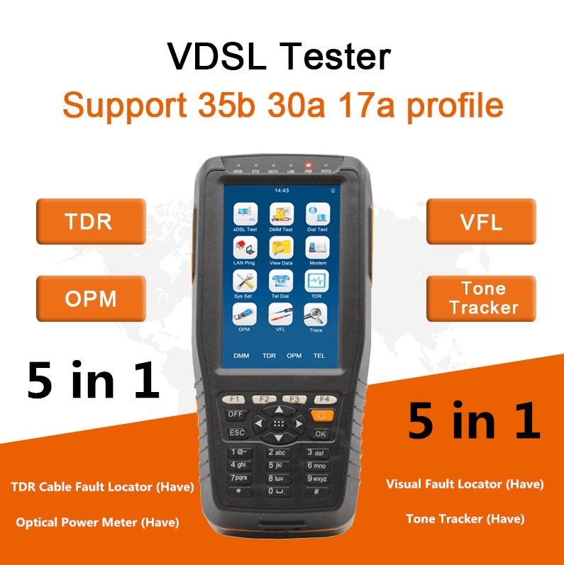 5 in 1 Mufti-Function TM600P VDSL VDSL2 Tester Support 35b 30a 17a Profile With OPM+VFL+TDR+Tone Tracker Full Funciton DHL Free