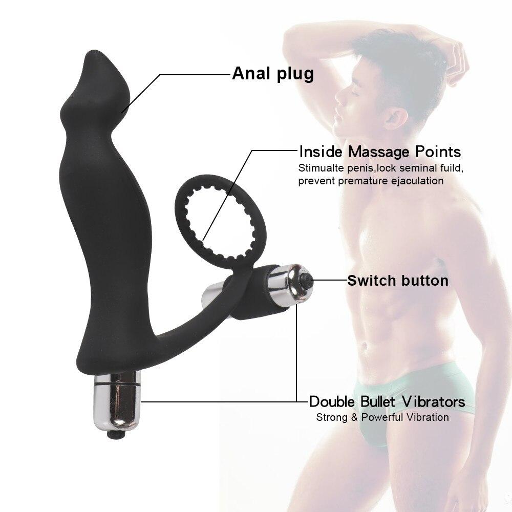 Material de silicona punto G cerradura de próstata anillo fino Anal butt plug doble estimulación fálica vibrador hombres y mujeres juguetes sexuales
