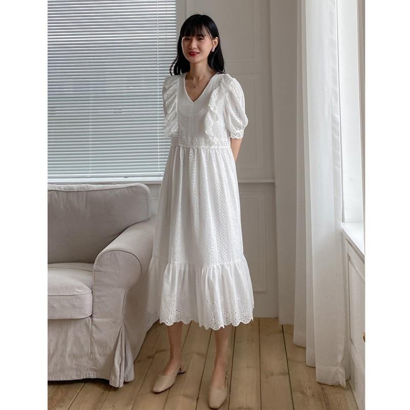 Branco fada oco para fora princesa babados lolita vestido longo