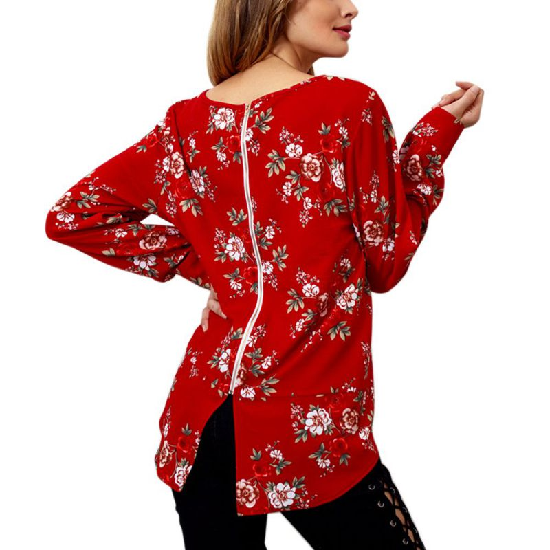 Herbst Winter Frauen Floral Print Lange Hülse O-ansatz Zurück Zipper Chiffon Bluse Frauen Tops Shirt Korean Fashion Blusas Chemise