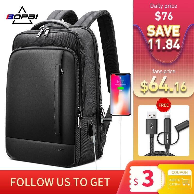 BOPAI حقيبة ظهر للعمل الرجال مقاوم للماء كبير محمول الظهر حزمة للمراهقين المدرسية 15.6 بوصة حقيبة حاسوب الذكور السفر Bookbag
