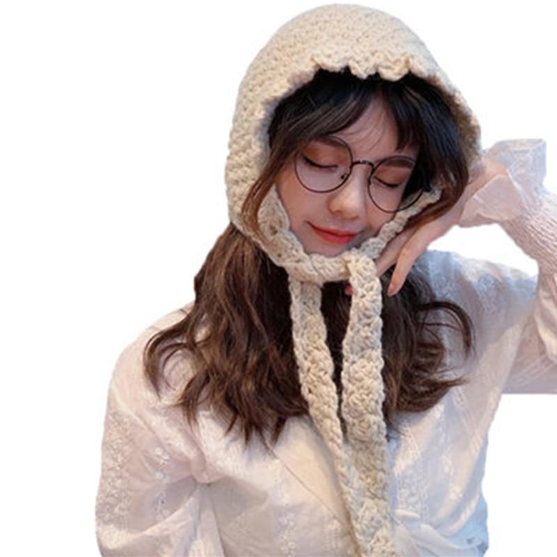 Chapéu de lã vermelho net feminino outono e inverno versão coreana caos ins doce e adorável chapéu de malha chapéu de inverno artesanal