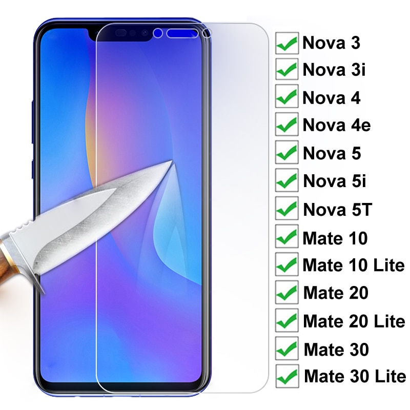15D Protection Glass On For Huawei Nova 3 3i 4 4e Nova5 5i 5T Screen Protector For Huawei Mate 10 20