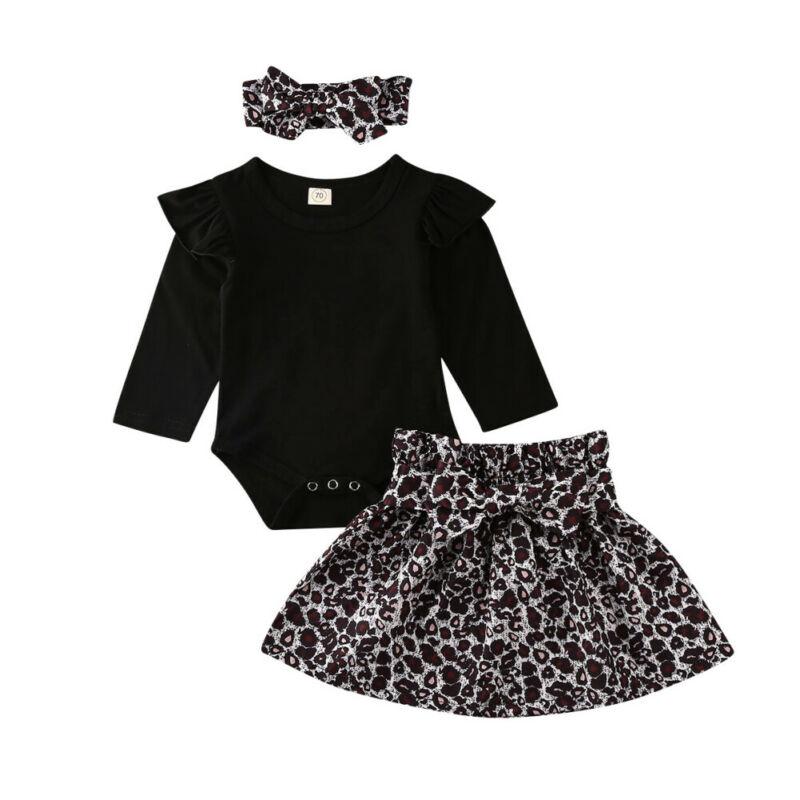 0-12M   Infant Baby Girl Clothes Romper Bodysuit+Tutu Leopard Skirt Headband Outfits