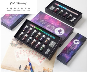 7pcs/set Crystal Glass Pen Starry Sky Dip Pen Glitter Powder Fountain Pen 4 Colors Ink Gift Box Set School Writing Supplies