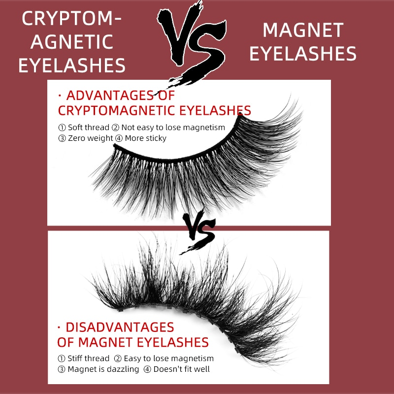 Shozy 4/6 Pairs Natural Long Magnetic Eyelashes 3D Mink False Eyelashes Extension No Glue Reusable Lashes for Makeup