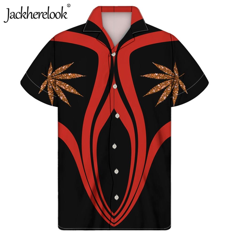 Jackherelook-Camisa hawaiana con estampado de hojas de hierba para Hombre, ropa de...