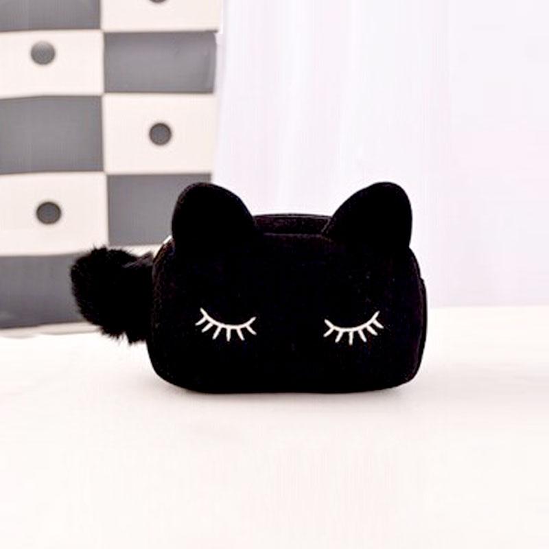 Bolso de cosméticos para mujer lindo Pom Cat patrón de maquillaje estuche organizador para mujer negro azul estuche para lápices