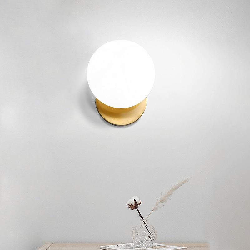 الشمال وحدة إضاءة Led جداريّة مصباح قمري الحديد الحديثة الدرج الزخرفية مصباح ليد السرير المنزل زجاج دائري الجدار أضواء الخشب زين Murale E27