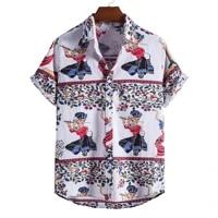 2021 sumitong ebay new mens stand collar short sleeve shirt ethnic style series printed shirt
