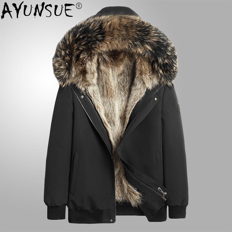 AYUNSUE 2020 سترة الشتاء سترة الرجال الملابس مقنعين الملابس الحقيقي الراكون الفراء معطف عارضة جاكيتات 2020 Chaquetas هومبر LXR923