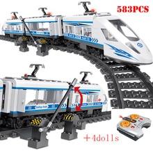 RC 기술 도시 철도 빌딩 블록 원격 제어 스테이션 레일 기차 계몽 벽돌 아이들을위한 장난감 크리스마스 선물