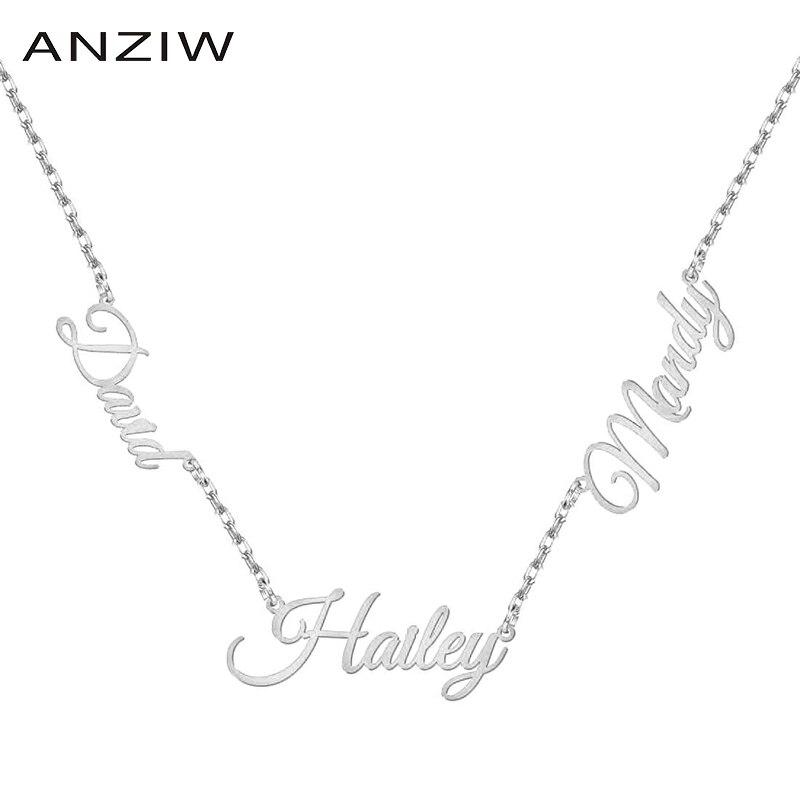 2020 moda personalizada collar de 3 nombres para las mujeres personalizado carta oro gargantilla collar precioso regalo para la mamá