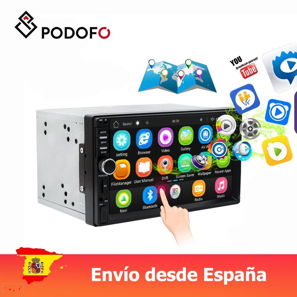 "Podofo VEUR 7 ""2din Android Car Radio Estéreo navegación GPS Bluetooth USB SD 2 Din Touch Multimedia reproductor de Audio"