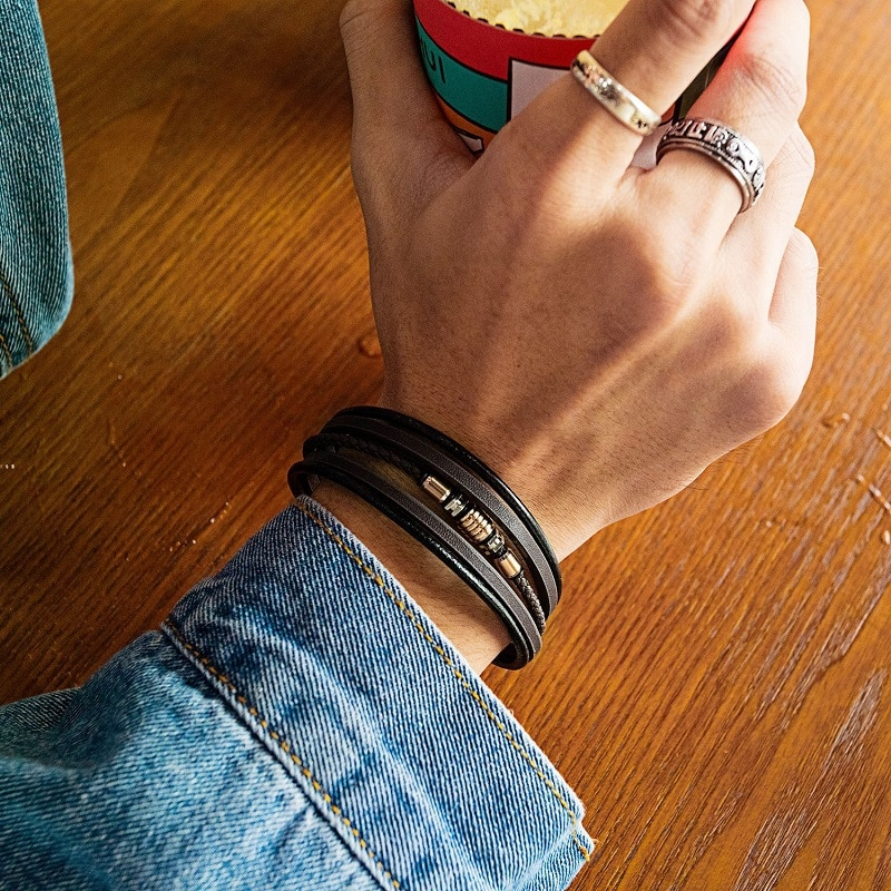 Fashion Men Bracelet Luxury Bangles Bracelets For Male Black Jewelry Classic Multi Layer Leather Bracelet For Boy  - buy with discount