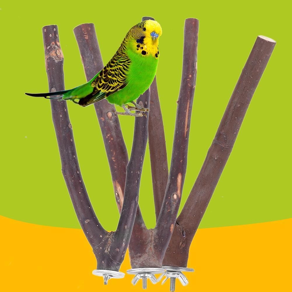 15/20/25cm mascota loro madera cruda tenedor árbol rama soporte estante juguete hámster rama perchas para pájaro jaula de loro madera tenedor morder Juguetes