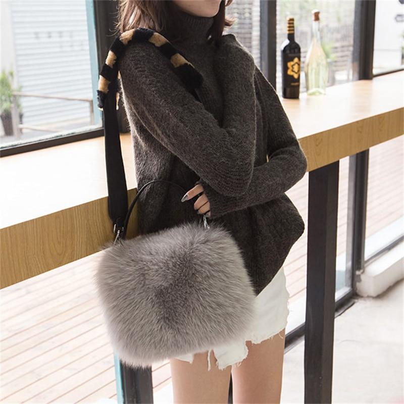2021 New High-End Winter Women's Fox Fur Handbag Messenger Bag Party Shoulder Bag 100% Fox Leather Handbag