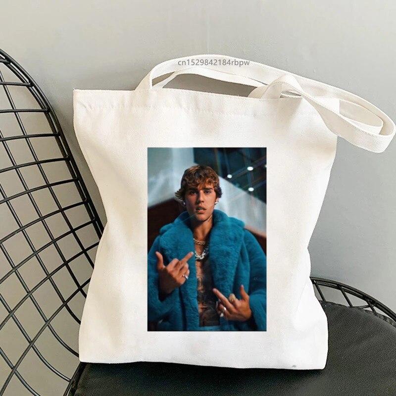 Повседневная женская сумка для покупок, сумки Джастина Бибера, сумки на плечо, женская элегантная Холщовая Сумка