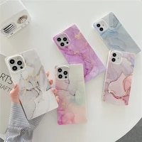 square gradient marble silicone soft frame phone case for iphone 12 11 pro max xs x xr 7 8 plus fall anti protective cover shell