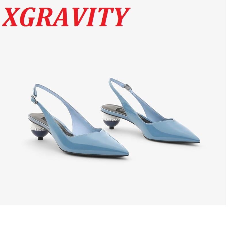 Sapatos de Verão Sandálias de Salto Marca Apontou Anormal Alto Elegante Patente Leahter Novos Sapatos Salto Estranho Bombas Femininas B324 2021 Toe
