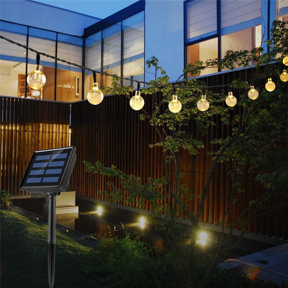 7m50leds Solar Power Crystal Ball Light String Sunlight For Garden Decor Led Garland Waterproof Outdoor Christmas Lights