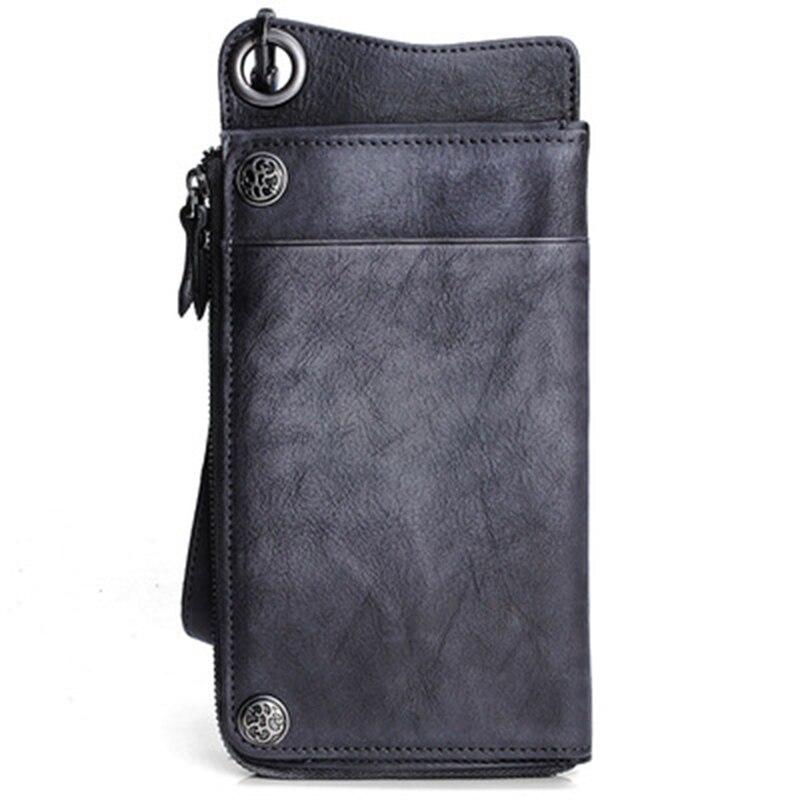 محفظة جلدية طويلة Vintage حافظة للبطاقات متعددة للرجال والنساء حقيبة يد جلدية سعة كبيرة سستة حقيبة الهاتف المحمول