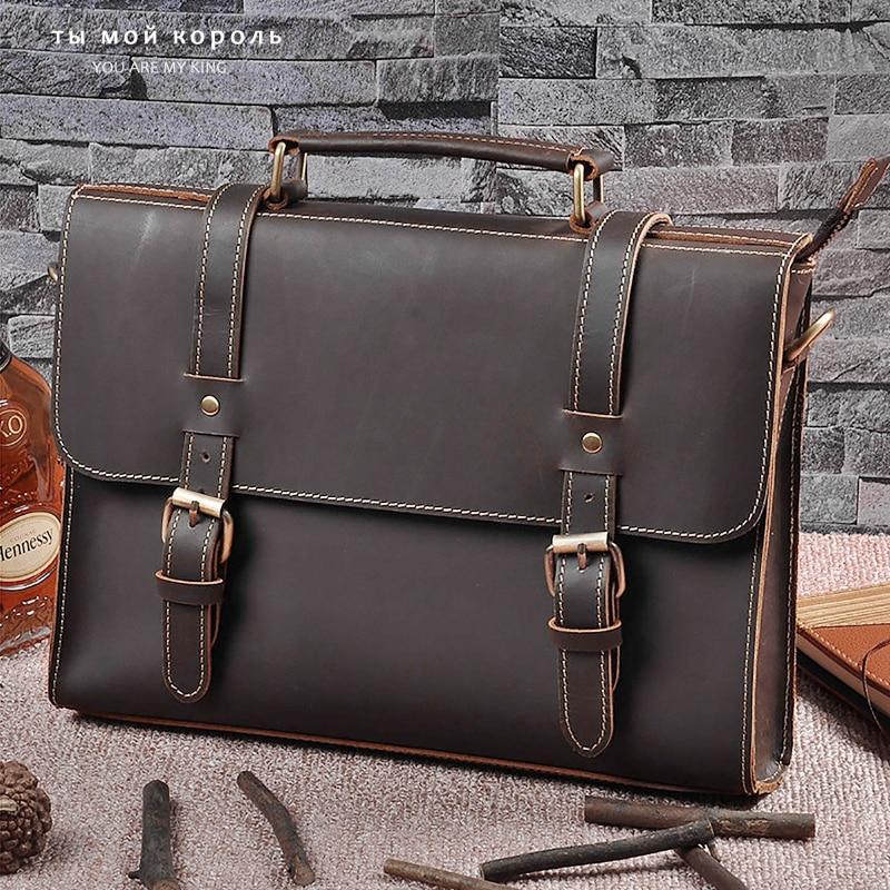 Men 39 S Shoulder Bag Genuine Leather Messenger Male Real Crazy Horse Leather Briefcase Man 2020 Designer Brand Handmade Bags
