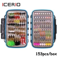 icerio 153pcs wooly bugger streamer midge larvae buzzers prince nymphs wet dry flies trout fishing fly lures with fly box