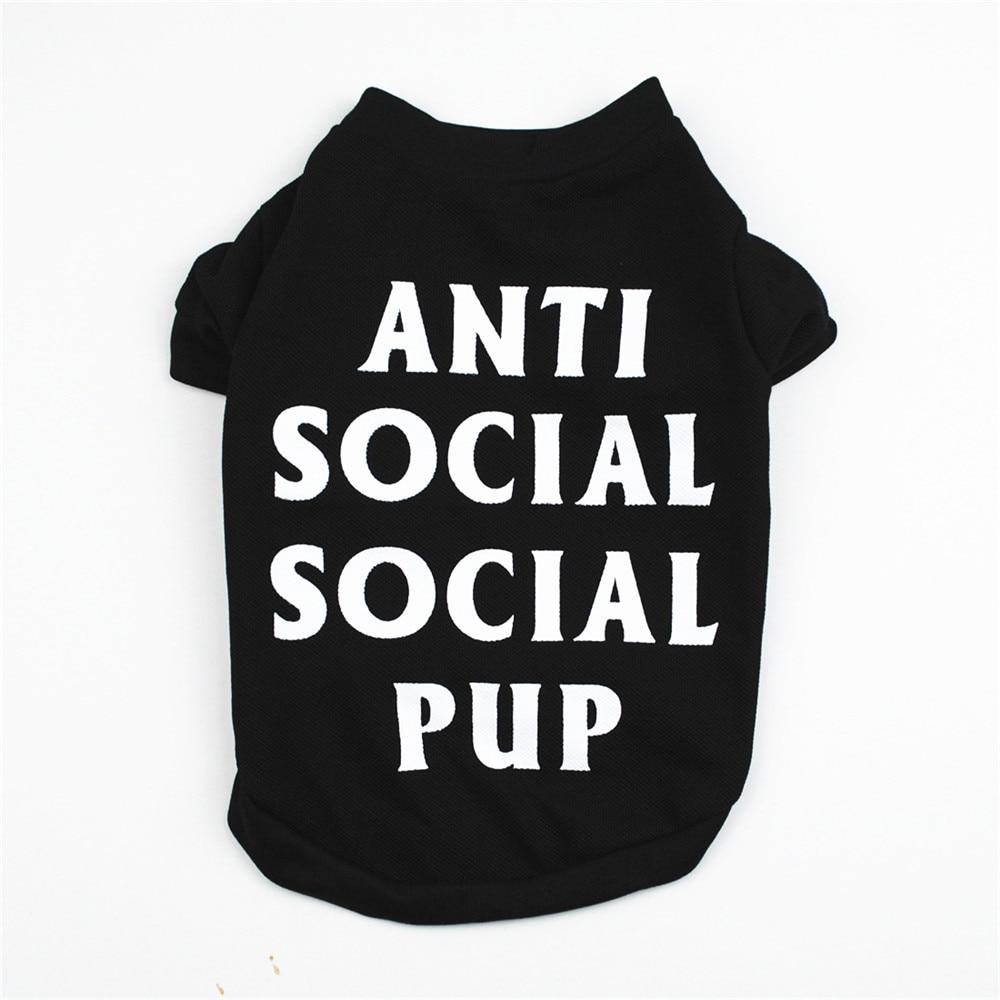 ANTI SOCIAL SOCIL PUP Summer Dog T-shirt Soft Pet Dog Clothes Dog Vest Shirt Pet Vest T-shirt Pet Products Summer Cat Vest Shirt
