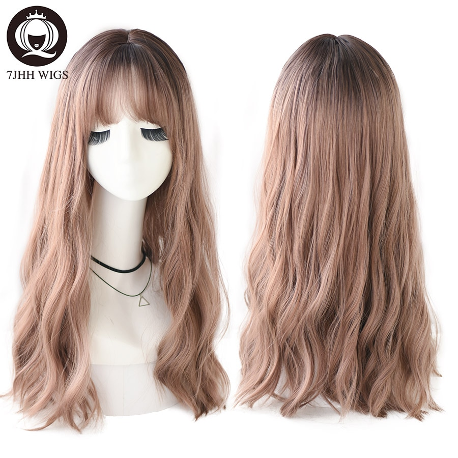 7JHH WIGS Realistic Wigs For Women Long Brown Black Wigs With Bangs Lolita Wave Wigs Synthetic Hair Cosplay Party Two Color Wig
