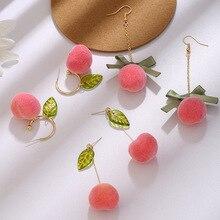 Belle nouvelle conception rose juteuse pêche boucles doreilles mignon Fruit été Style feuille chaîne boucles doreilles créatives femmes fête bijoux cadeaux