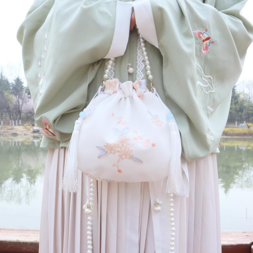النمط الصيني المطرزة حقيبة أوراق قماشيّة الإناث الهاتف المحمول حقيبة يد الجنية محفظة كل مباراة اليومية Hanfu اكسسوارات LB845