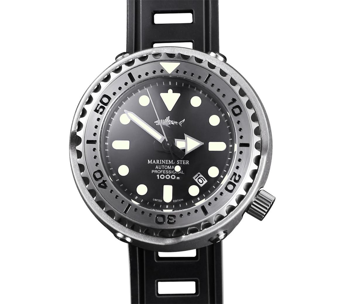 Relojes Monoblock con lata de atún japonés, reloj Sharke Sharkey, reloj automático de buceo para hombre, reloj Vinatge de 1000ATM