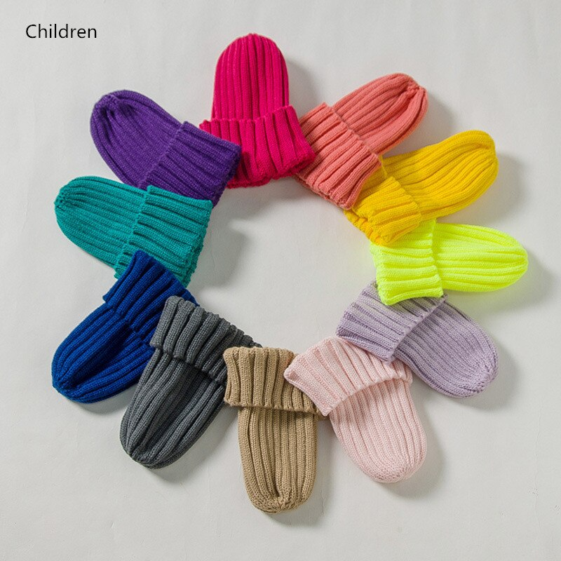 Gorro de invierno de moda para niños, gorro de invierno para bebé, gorro de Color caramelo para niños, gorro de punto de lana elástico de ganchillo