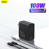 baseus gan2 fast charger 100w type c laptops tablet charger qc 5 qc 4 0 pd 3 0 gan charger for apple book pro lenovo dell huawei
