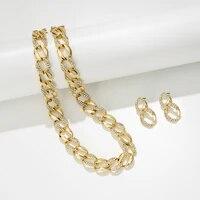jaeeyin 2021 trendy fashion choker chain jewelry set ot buckle sparkly cubic zircon stud dangle earring decorate female chunky