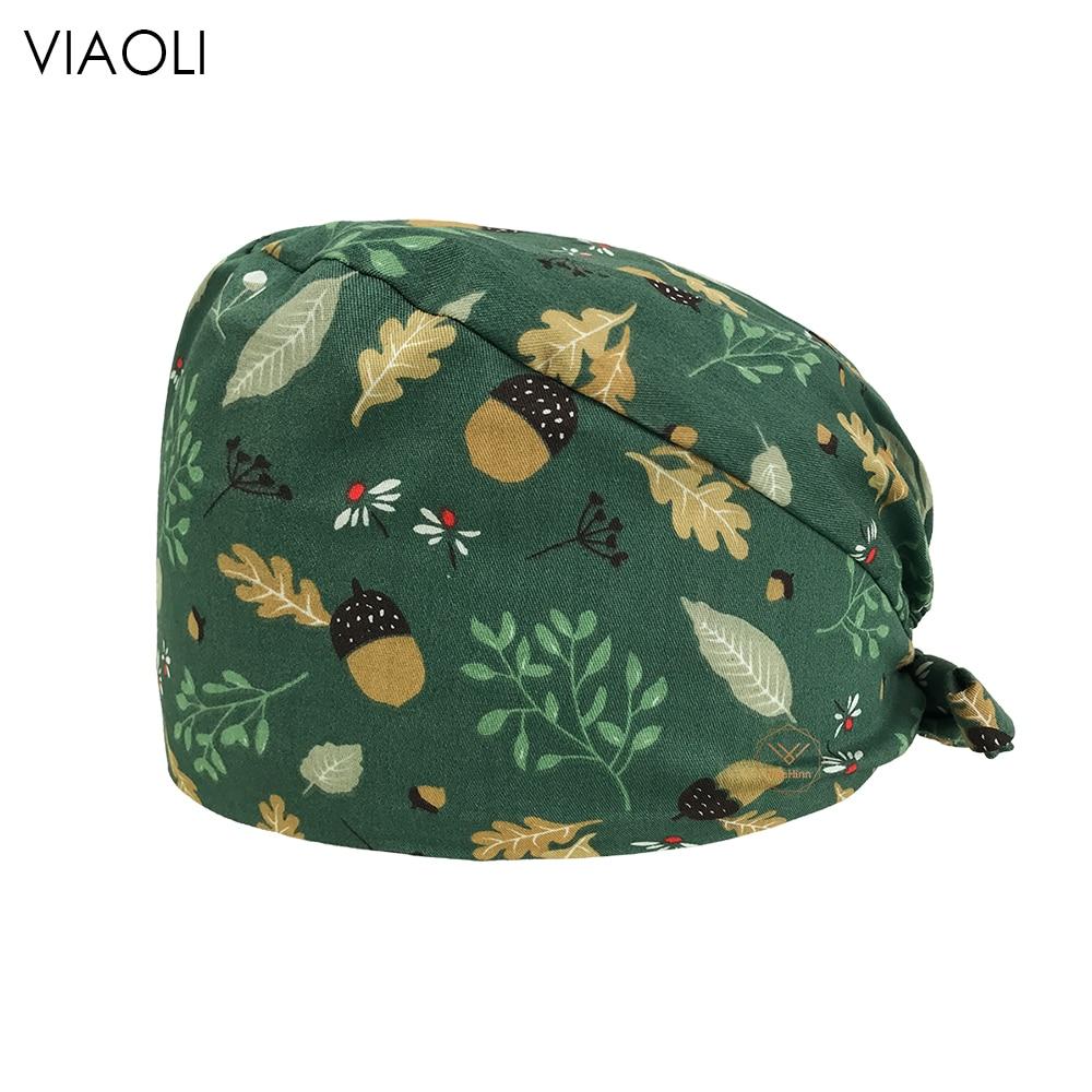 viaoli new gorro quirofano hombre cotton Cartoon print hat adjustable Scrub hats beauty salon nursing caps laboratory  Scrub Cap
