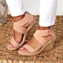 Summer Women Sandals Elastic Band Peep Toe Woman Wedges Shoes Cross Tie Platform Hemp Bottom Lady Sandals Female Plus Size 2020