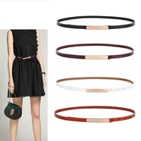 thin genuine leather belts for women fashion design gold buckle belt woman good quality second layer cow skin female jeans strap