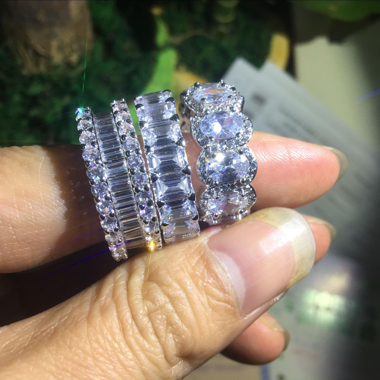 Choucong lujo Lustre Eternity Promise Ring AAAAA cz 925 Sterling Silver compromiso boda Band anillos para mujeres joyería de fiesta