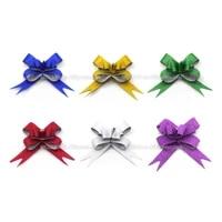 pull flower ribbons sml pearlescent goldsilverredbluepurplegreen bowknots festive party gift packaging decor 10pcslot
