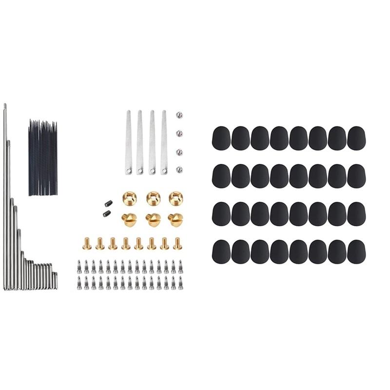 1 Set Alto SAX Repair Parts Screw Spring Set & 32 Pcs Mouthpiece Cushion 0.8 mm Mouthpiece Patches