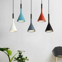 Moderne minimaliste coloré en métal petite lampe pendante simple tête chambre restaurant bar café bois aluminium luminaire