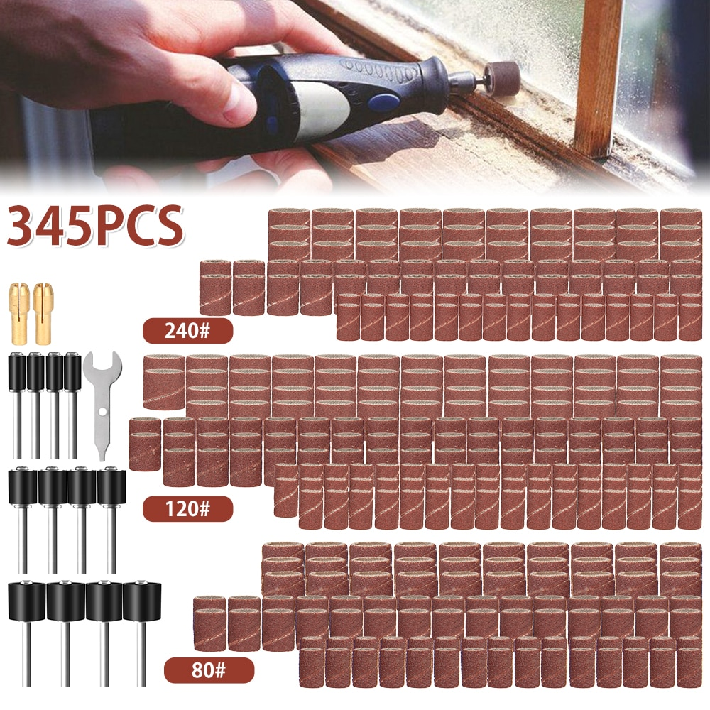 345pcs/Set Sander Sleeves Polishing Wheel Abrasive Belt Sanding Sandpaper Diamond Grinding Head Dremel Woodworking Rotary Tools