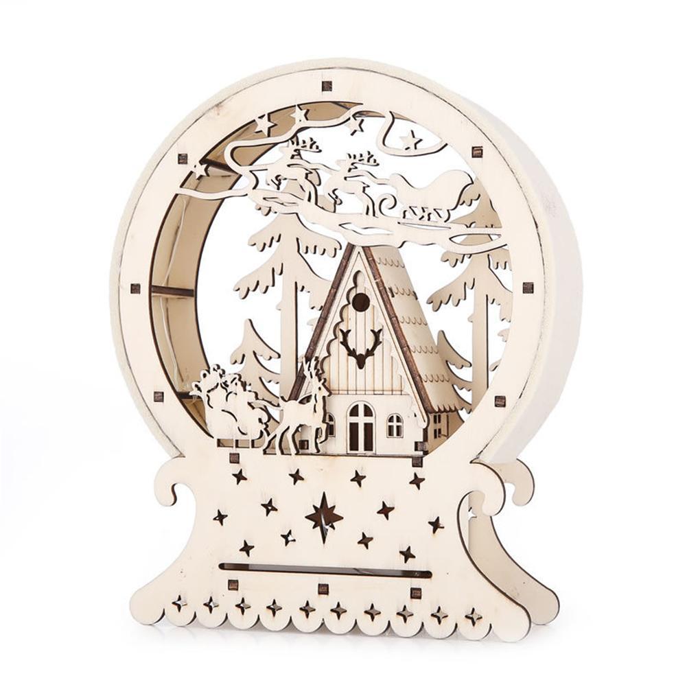 Navidad luz de noche de madera iluminada casa ornamento lámpara de mesa de madera blanco cálido para decoración de dormitorio regalos para niños
