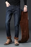 2020 thick plus velvet jeans mens casual loose straight leg jeans high quality
